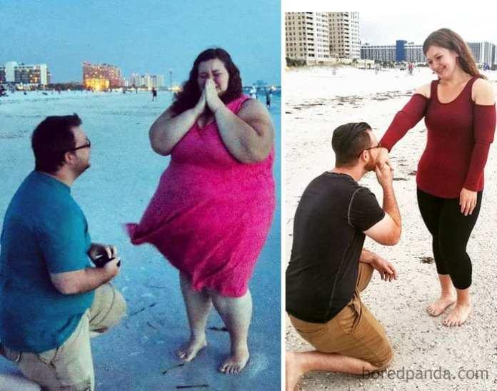 Pierdere în greutate de un an înainte și după cum să pierzi grăsimi grave
